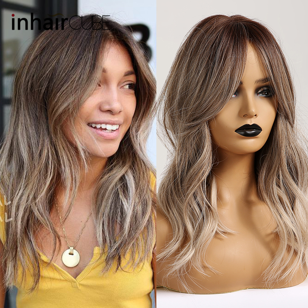 Inhair Cube Long Ombre Synthetic Wig Natural Wave Brown Wigs For Women Party Daily Middle Parting  With Bangs Free Shipping