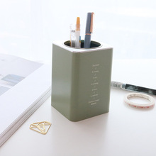 Creative Fresh Japanese And Korean-Style Stationery Simple Japanese-style Pen Holder Pp Square round Mouth-Style Multi-functiona