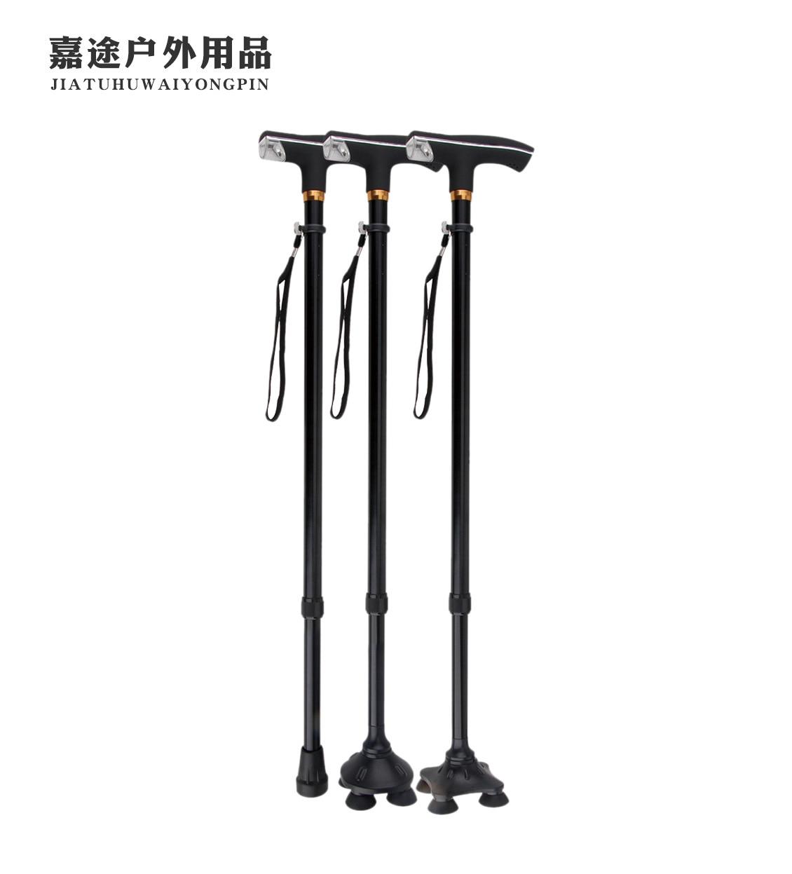 450G Walking Stick For The Elderly Four Corners Anti-slip Walking Stick Dull Polish Wearable Elderly Stick Adjustable LED Light