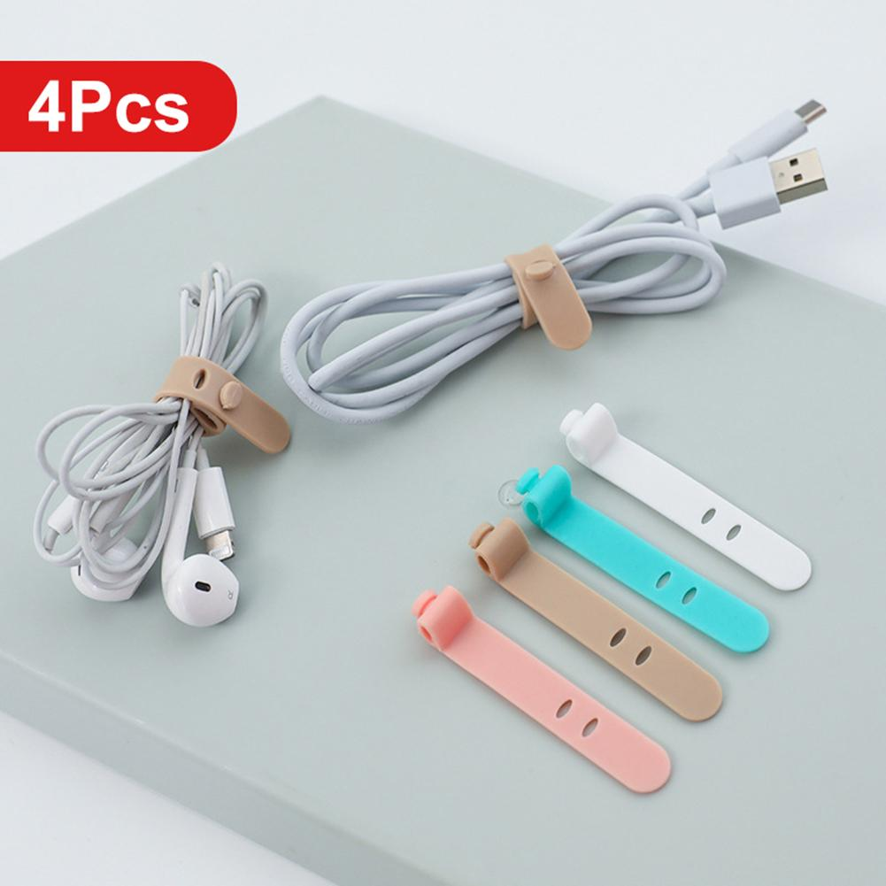 4Pcs Anti-Lost Silicone Earphone Cable Storage Buckle Winder Organizer Office Desk Data Cord Holder Management For Xiaomi IPhone