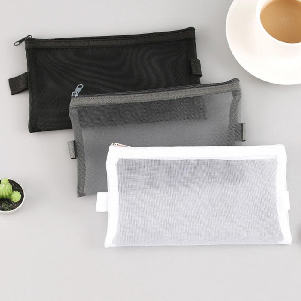 Fashion Mesh Zipper Student Pen Pencil Case Makeup Cosmetic Storage Bag Pouch