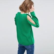 Женский пуловер с длинным рукавом повседневный однотонный в
