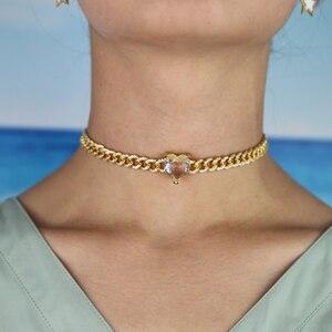 Image 5 - Hip hop donne collana regalo di san valentino grande cuore cubic zirconia cz Miami catena choker di lusso delle donne della catena collane