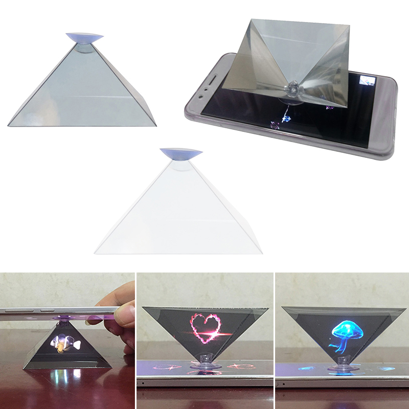 Hot Sale Holographic Projection 3D Hologram Pyramid Display Projector Video Stand Universal For Smart Mobile Phone