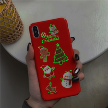 Ottwn Luminous Santa Claus Mobile Phone Cover For Iphone X XR XS MAX 7 8 7Plus 6 6S Plus Christmas Style Epoxy Soft Back