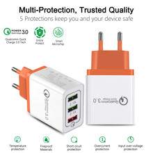 Universal 18W USB Quick Charge 3.0 5V 3A For Samsug S8 S9 EU US Plug Mobile Phone Fast Charger Charging For Huawei P20 iPhone 7 3 usb quick charge 3 0 5v 3a eu us for iphone 7 8 eu us plug mobile phone fast charger charging for samsug s8 s9 xiaomi note 7