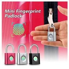 Mini Fingerprint Smart Padlock  Door Lock Quick Unlock USB Rechargeable for case bag security electronic fingerprint