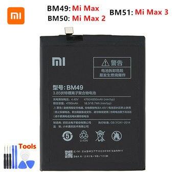 Xiao mi 100% Orginal BM49 BM50 BM51 Battery For Xiaomi Mi Max Max 2 Max 3 BM49 BM50 BM51 Phone Replacement Batteries +Tools high quality for xiao mi bm51 battery 5400mah in stock