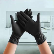 100 sztuk czarne jednorazowe rękawice nitrylowe lateksowe rękawice robocze Food Grade wodoodporne rękawice ochronne dla alergików S m l rękawice tanie tanio HAIMAITONG CN (pochodzenie)