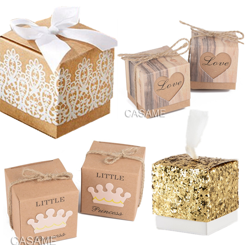 Heart Crown Sweet Lovely Decoration Candy Box Paper Boxes Gift Box Rustic & Lace Kraft Favor Box With Ribbon Wedding Gold Silver