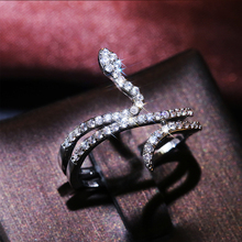 HUAMI Personality Snake Rings for Women Open Finger Punk Style Silver Color Bling Bling Exquisite Stackable Fashion Jewelry Ring