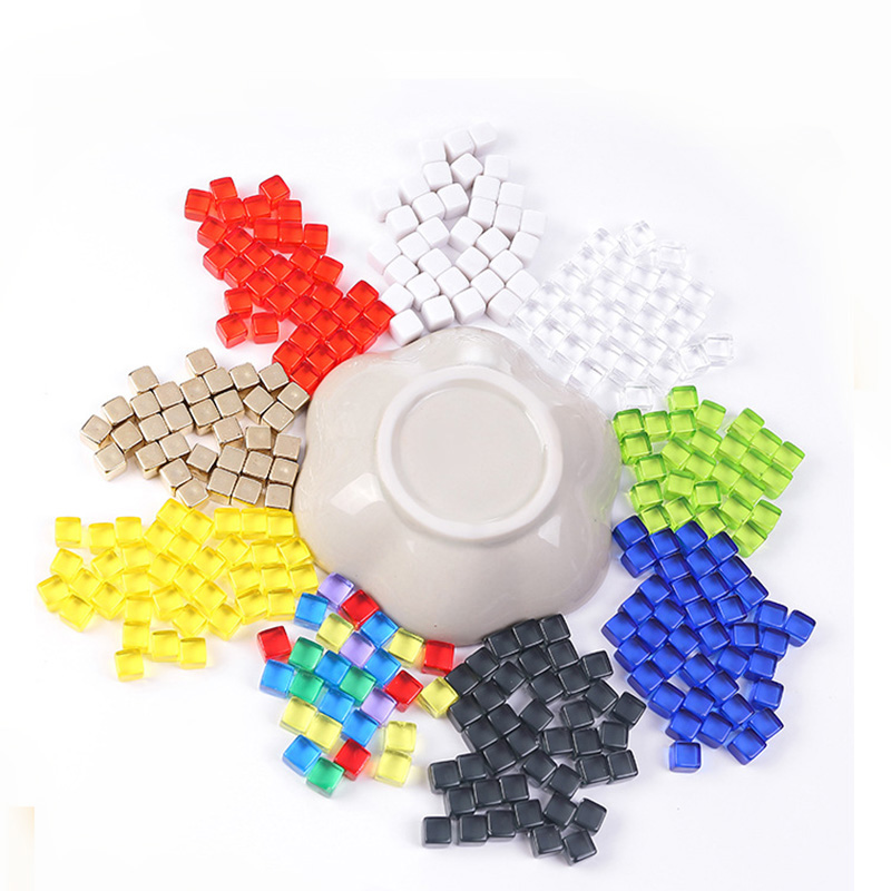 100 шт./компл. прозрачный/Непрозрачный квадратный угловой куб, 9 видов красочных строительных элементов для аксессуаров для пазлов 8 мм