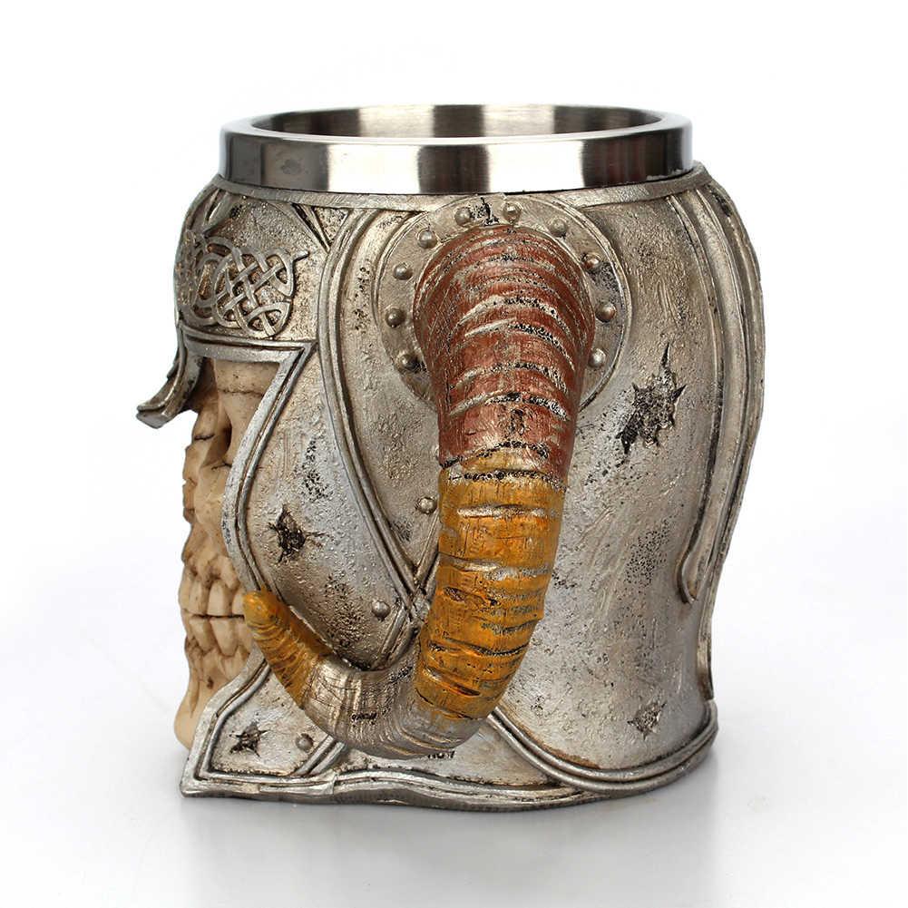 Caneca do crânio de Aço Inoxidável Copa Stein Dia Das Bruxas Chifres Guerreiro Senhor Cerveja Pit Drinkware Chá Café Canecão