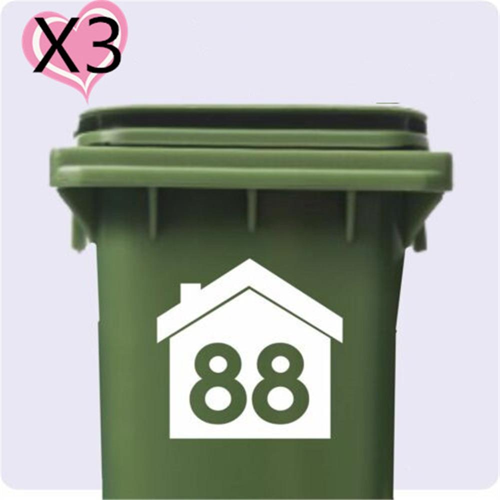3 X Wheelie Bin Numbers DUST BIN Customized Number/ HOUSE NUMBER STICKER