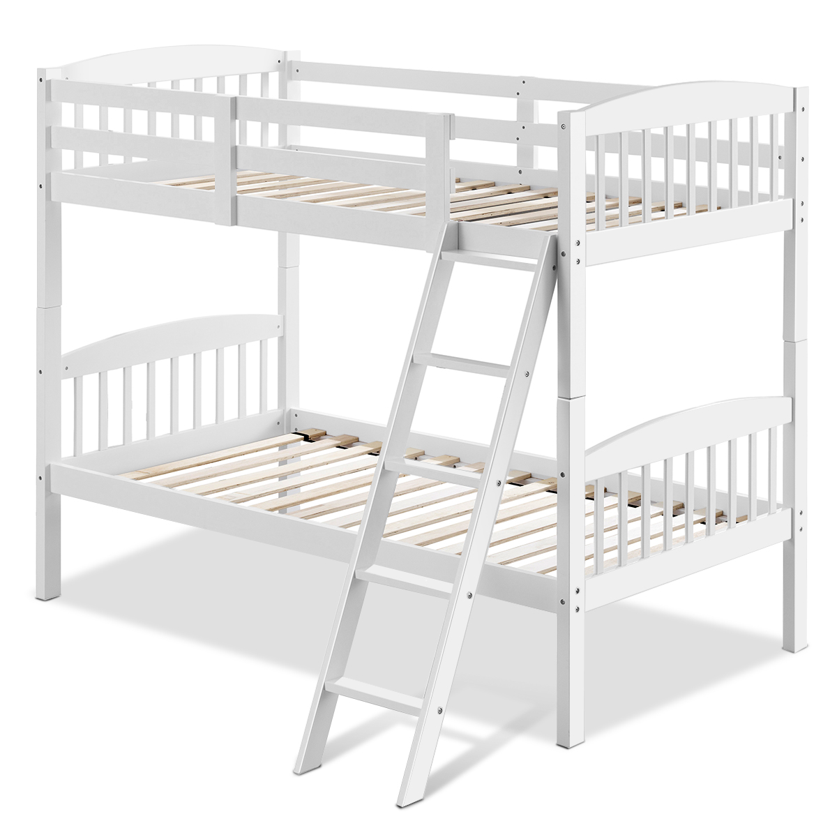 Hardwood Twin Bunk Beds Rubber Wood 2 Individual Kid Bed Ladder Guardrail White