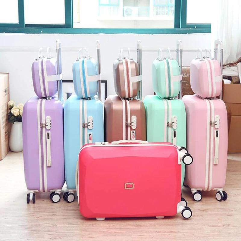 Женский Дорожный чемодан на колесиках, милый Дорожный чемодан на колесиках из АБС-пластика в стиле ретро