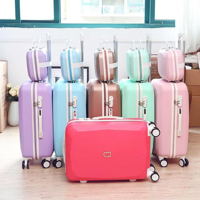 سفر حكاية المرأة لطيف تحمل على طقم عربة abs الفتيات حقيبة سفر ريترو المتداول الأمتعة على عجلات