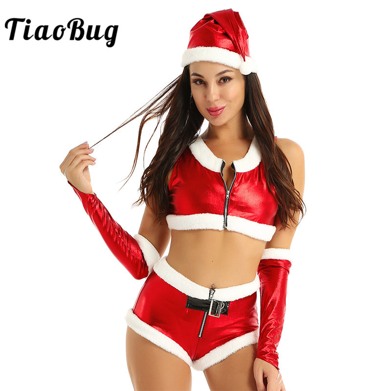 Women Hot <font><b>Sexy</b></font> <font><b>Christmas</b></font> <font><b>Costume</b></font> White Flannel Shiny Metallic Crop Tops with Shorts Hat Arm Wrap Santa Fancy Dress Red <font><b>Outfits</b></font> image