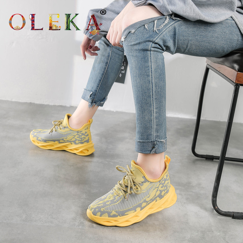 OLEKA Autumn And Summer Casual Flat Sneakers Women Running Ins Yellow Breathable Light Shoes Young Fashionable Women Soles AS34
