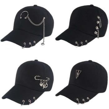 Fashion hip hop cotton baseball cap BTS Creative Piercing Ring Caps Punk Adult Casual Solid Adjustable Unisex hat Snapback hats - discount item  12% OFF Hats & Caps