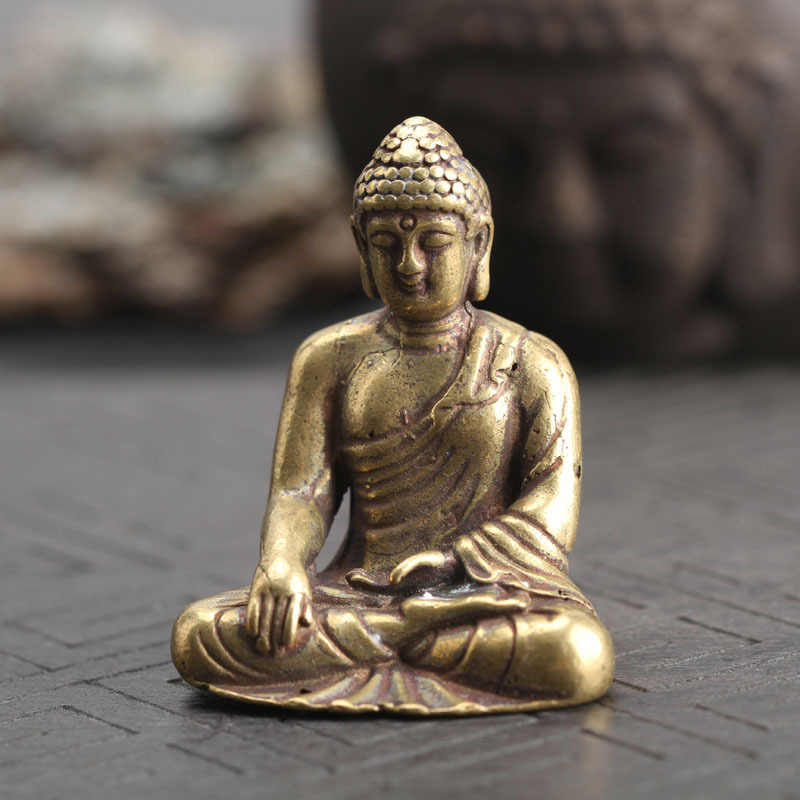 Solido di Rame Buddha Amitabha Statua Decorazioni Per La Casa In Ottone Sculture Vintage Soggiorno Office Desk Decor Figurine In Miniatura