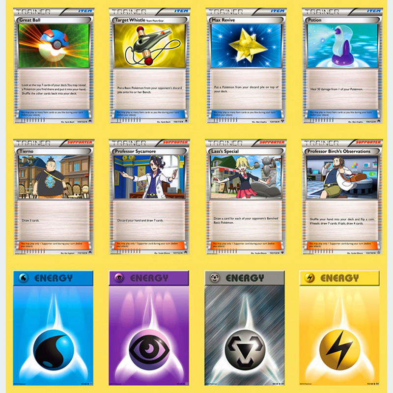 50pcs/set Pokemon PTCG Battle N Card 10 Energy Cards Different Prop Cards Trainer Card Kids Toys Gifts