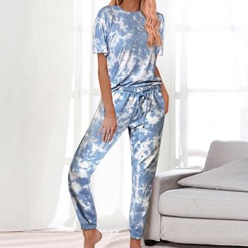 Casual Daily Women Tie-dye Suits Wears Short Sleeve Round Collar Tops + Full Pants Two Pieces Sets For Women Homewear Sleepwear