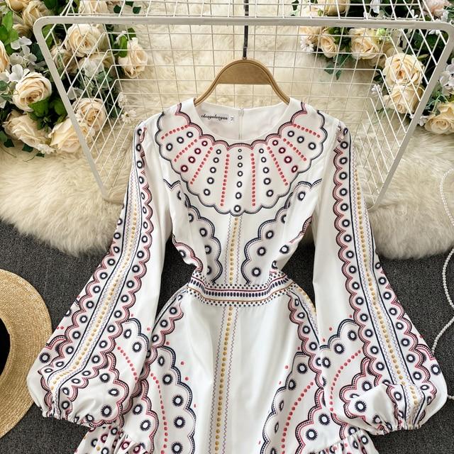 Boho 2021 High Waist Elegant Dresses Women Dress Party Luxury Long Sleeve Autumn Spring A-Line Runway Vintage Embroidery Puff 2