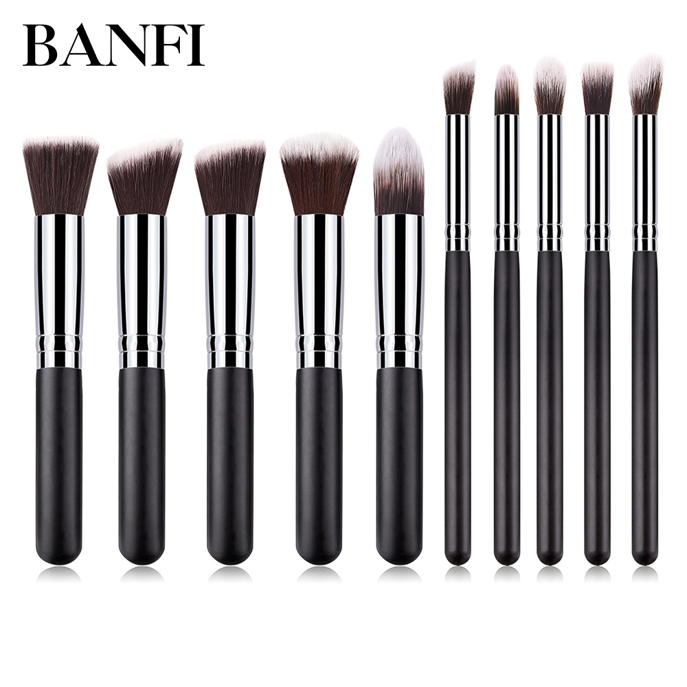 Classic Eyeliner Makeup Brush Set Eyeshadow 10pcs Foundation Powder Blush Concealer Eye Cosmetic Face Beauty Tool