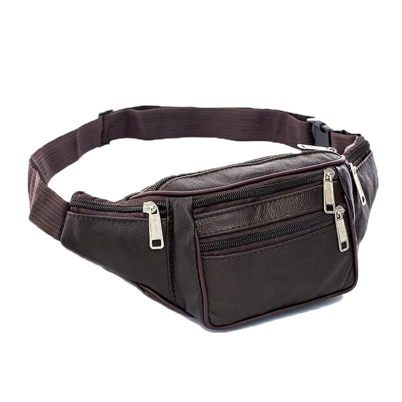 2019Fashion Men Woman Genuine Leather Waist PacksMen Organizer Travel Waist Pack Necessity Waist Belt Mobile Phone Bag Waist Bag