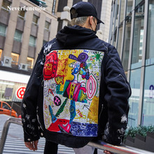 Мужская Уличная джинсовая куртка с принтом граффити и аппликацией хипстерские дырочки свободные хип-хоп мотоциклетные хлопковые черные повседневные джинсовые куртки