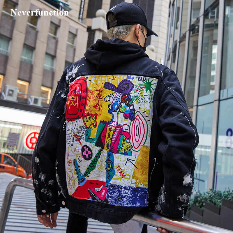 Men Streetwear Graffiti Appliques printed Jeans Jacket Hipster Holes Loose Hip Hop motorcycle Cotton black Casual Denim Jackets