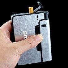 FOCUS Portable Metal Cigarette Boxes With Kerosene Oil Lighter 10pcs Cigarette Holder Case Lighter Gadget For Men Christmas Gift(China)