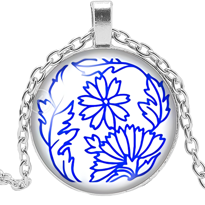 2019 Latest White Porcelain Petal Figure Series Glass Convex Round Pendant Necklace Fashion Jewelry Gift in Pendant Necklaces from Jewelry Accessories