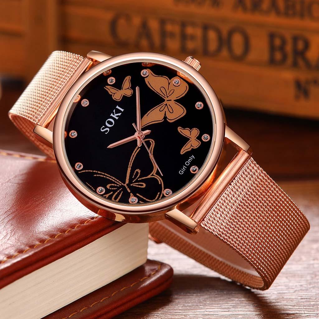 Hot Sale Women Watches Butterfly Dial Ladies Quartz Wristwatch Rose Gold Mesh Belt Female Clock Top Brand Zegarki Damskie Reloj