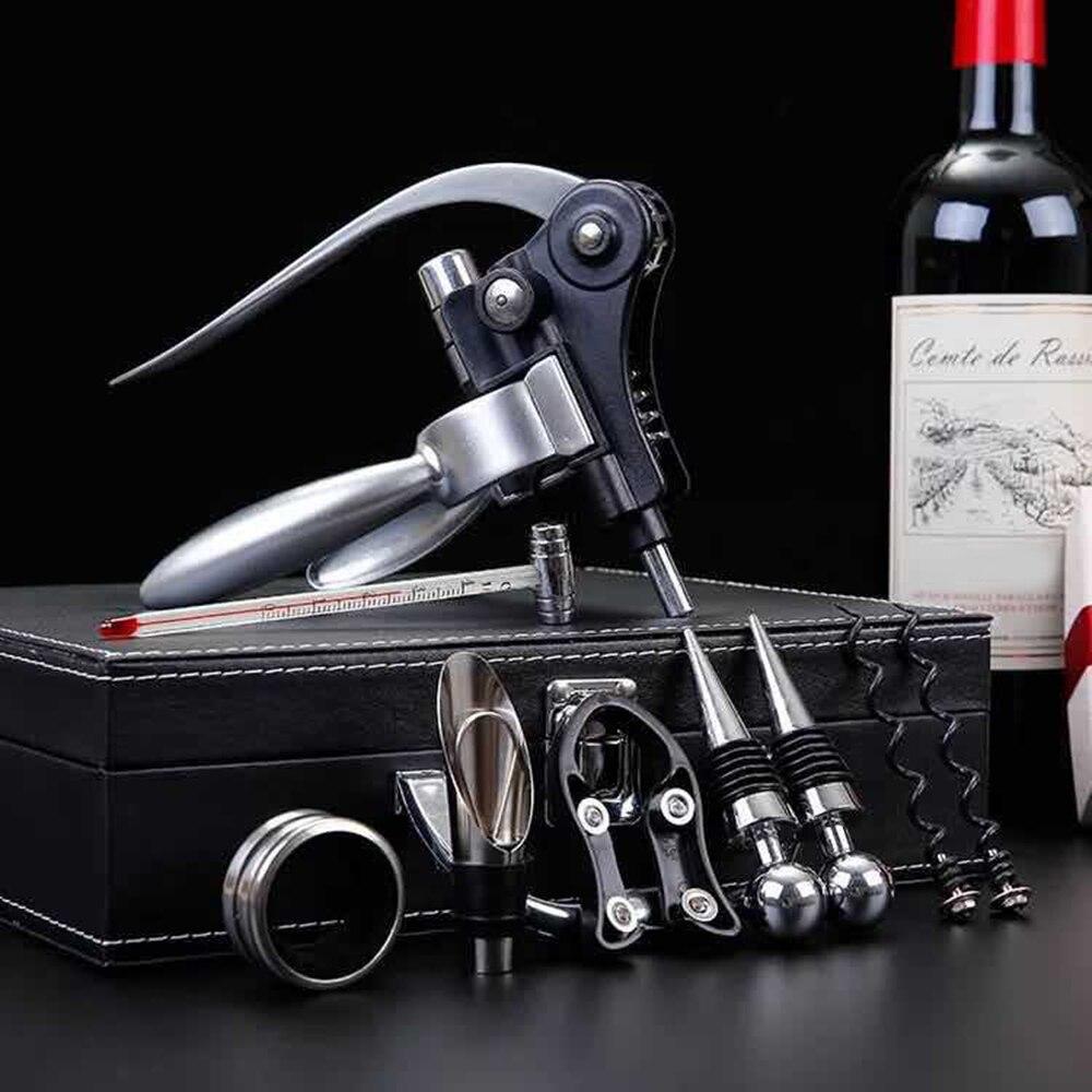 โลหะผสมสังกะสีกระต่ายสีแดงไวน์เครื่องมือเปิดขวดที่เปิดชุดยาง Corkscrew Pourer ชุดขวด Openers ครัวเครื่อ...