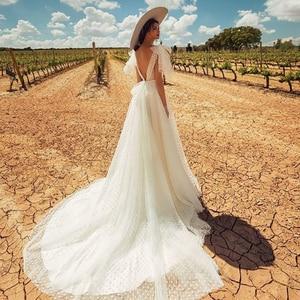 Image 2 - Verngo A line Wedding Dress Backless Wedding Gowns Elegant Bride Dress Classic White Point Long Dress Abito Da Sposa