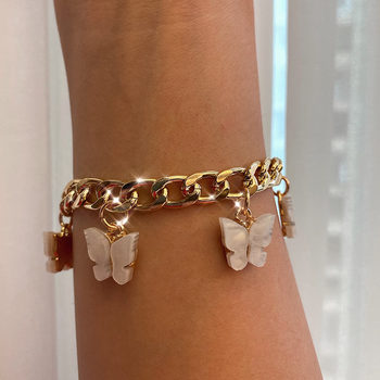 Caraquet Trendy New Shining Gold Silver Color 16 Butterfly Bracelets Cute Acrylic Animal Wide Bracelet Girls 2020 Jewelry Gift