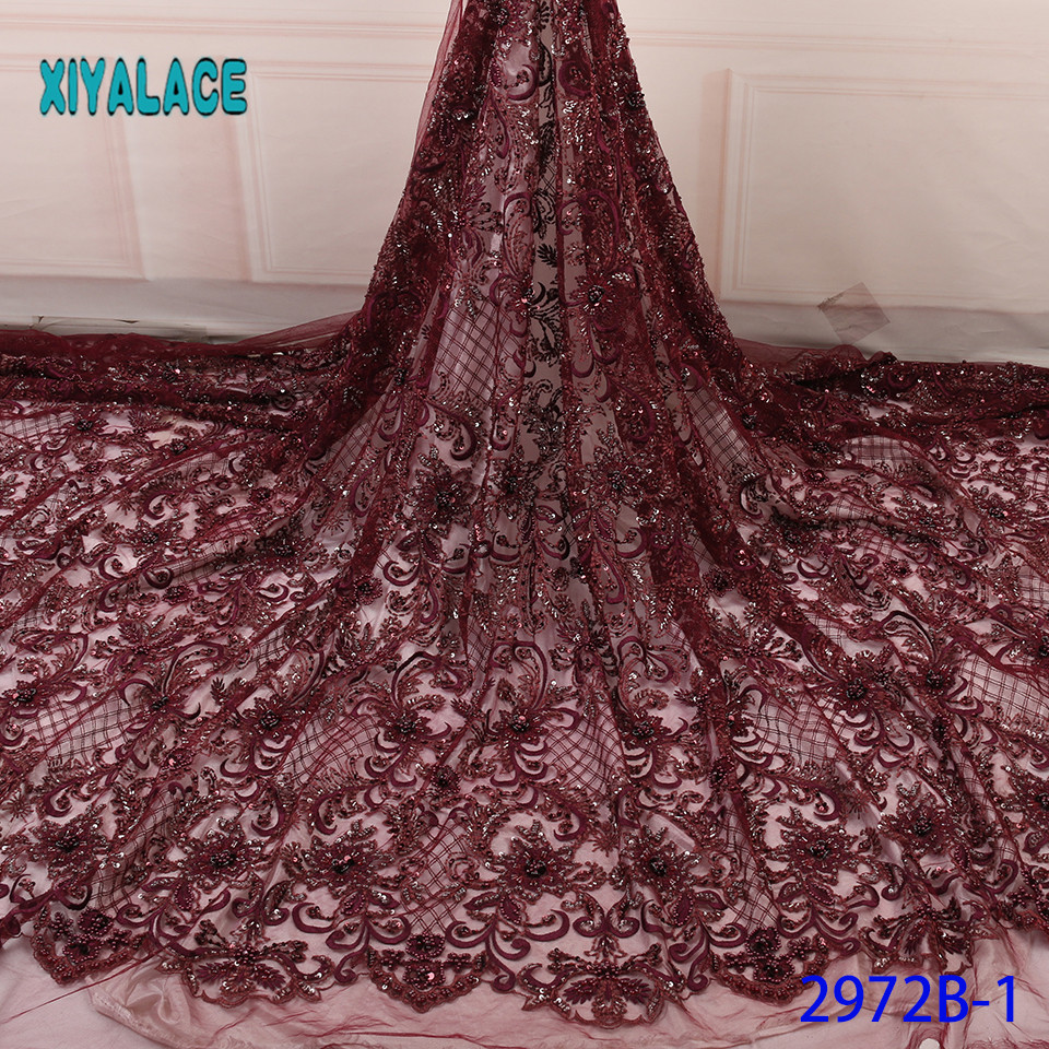 Handmade Lace Nigerian Beaded 3D Lace Fabrics African French Lace Fabric 2019 High Quality Lace Tulle For Party Dress YA2972B-1