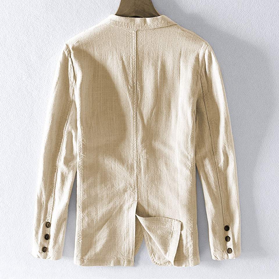 Hb5b0d74ac49d40278dcfb7a8dd82e817Y - 55% Linen 45% Cotton Breathable Anti-static Cool Man Suit Jacket Quality Casual Male Spring Autumn Single Breasted Men Blazer