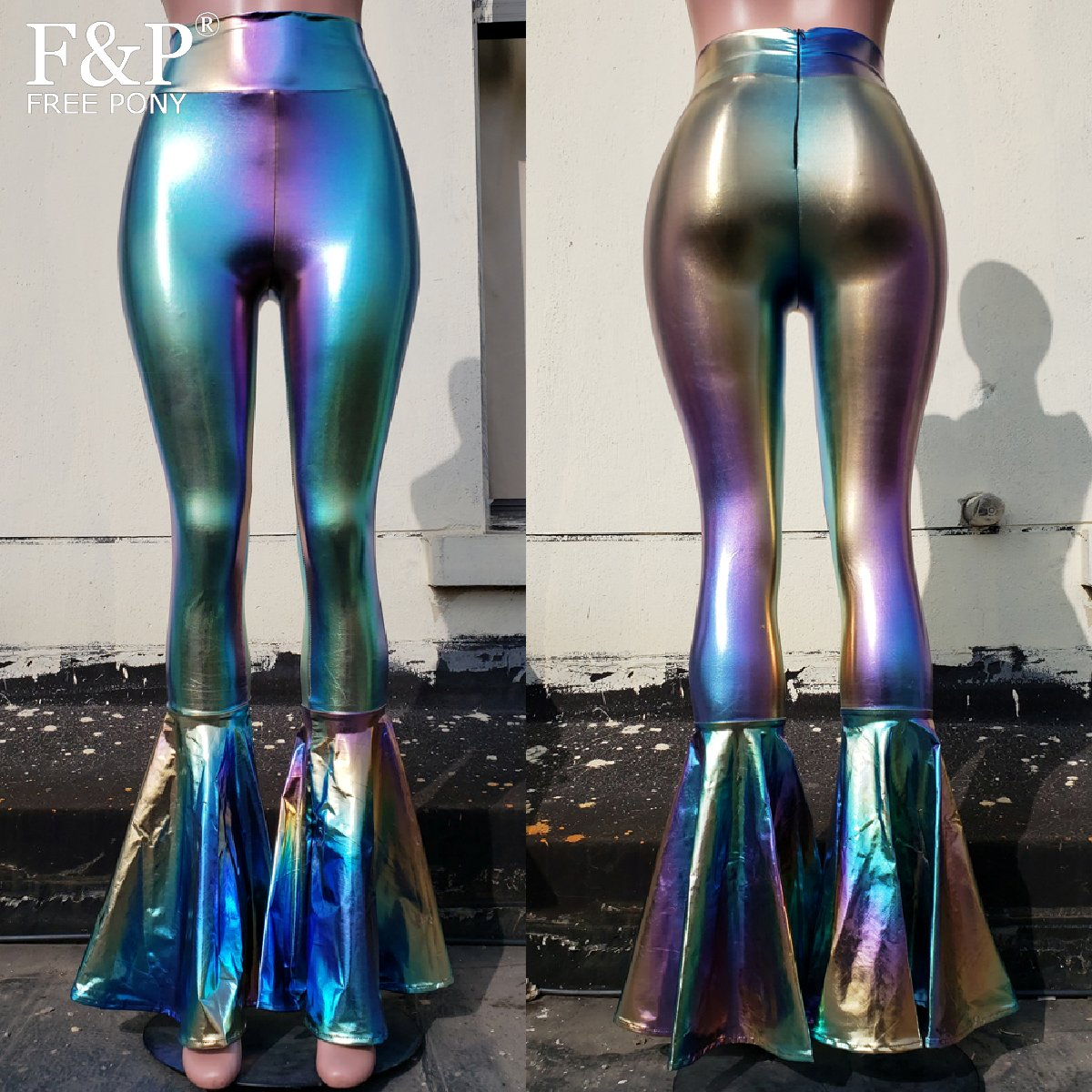 Women Iridescent Holographic Flare Bell Bottom Pants Leggings Rave Festival Clothes Outfits Vintage High Waisted Pants Leggings