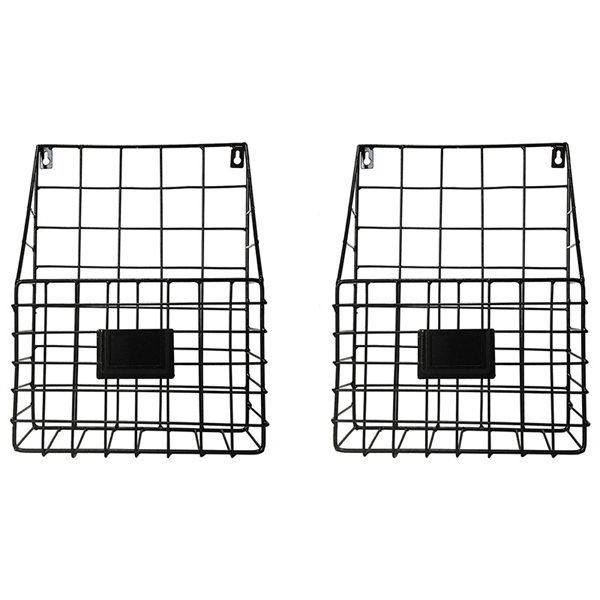Rustic Country Style Wire Wall Mount Hanging File Folder Display Mail Organizer Document Storage Magazine Rack Set Of 2 (Black)