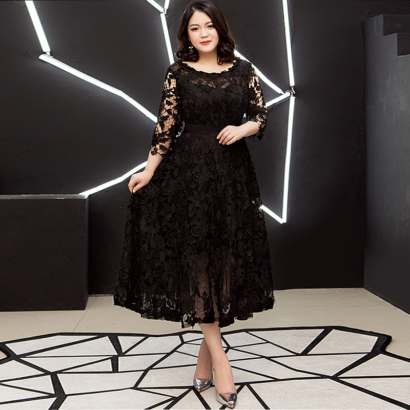 Prom Dresses A Line Tea Length Women Party Night Lace Three Quarter Regular Plus Size Embroidery O neck Formal Party Dress D070