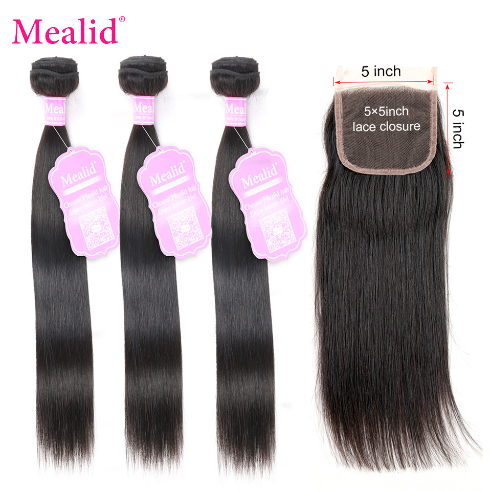 Mealid 5x5 Lace Closure With Brazilian Hair Weave Bundles Non Remy Straight Human Hair 3 4 Bundles With Closure