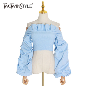 TWOTWINSTYLE Ruched Ruffles Blouses Womens Slash Neck Lantern Long Sleeve Slim Short Shirts For Female Fashion Clothes 2020 Tide