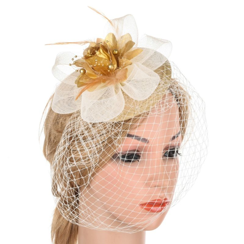 Women Fascinator Party Veil Feather Hairclip Top Hat Mesh Net Bowknot Wedding Hairband Girls Hair Accessories
