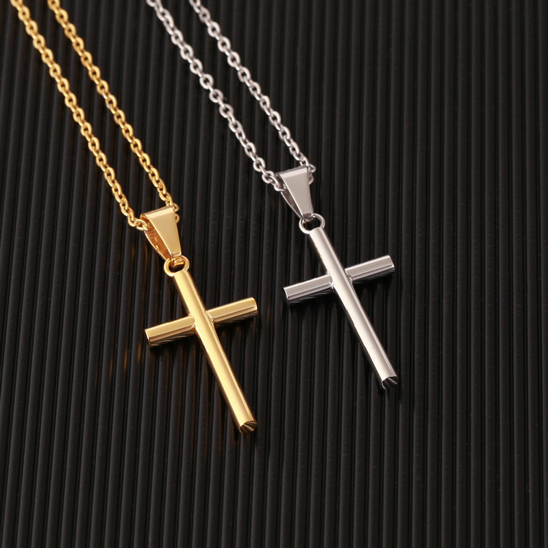 Hb5b13a6b443444fc8a0e662f2864b83f8 - New Stainless Steel Cross Necklace Men Pendant For Women Gold Color Crystal Link Chain Prayer Necklace Christian Jewelry Gift