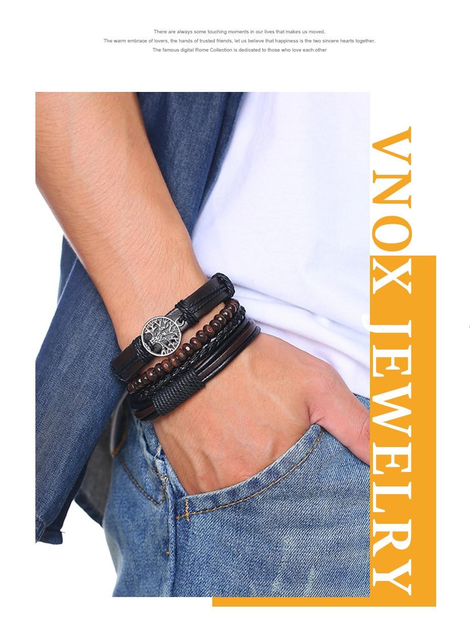 Braided Wrap Leather Vintage Bracelets for Men Hb5b14247a8b5488292469f68a2480da3j