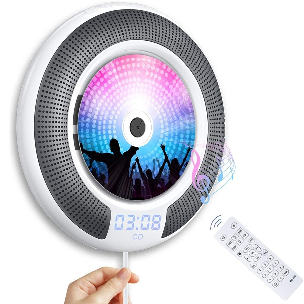 Wall Mountable CD Player With Bluetooth Built-in Loudspeaker LCD Display Home Audio Boombox Remote Control Support FM Radio