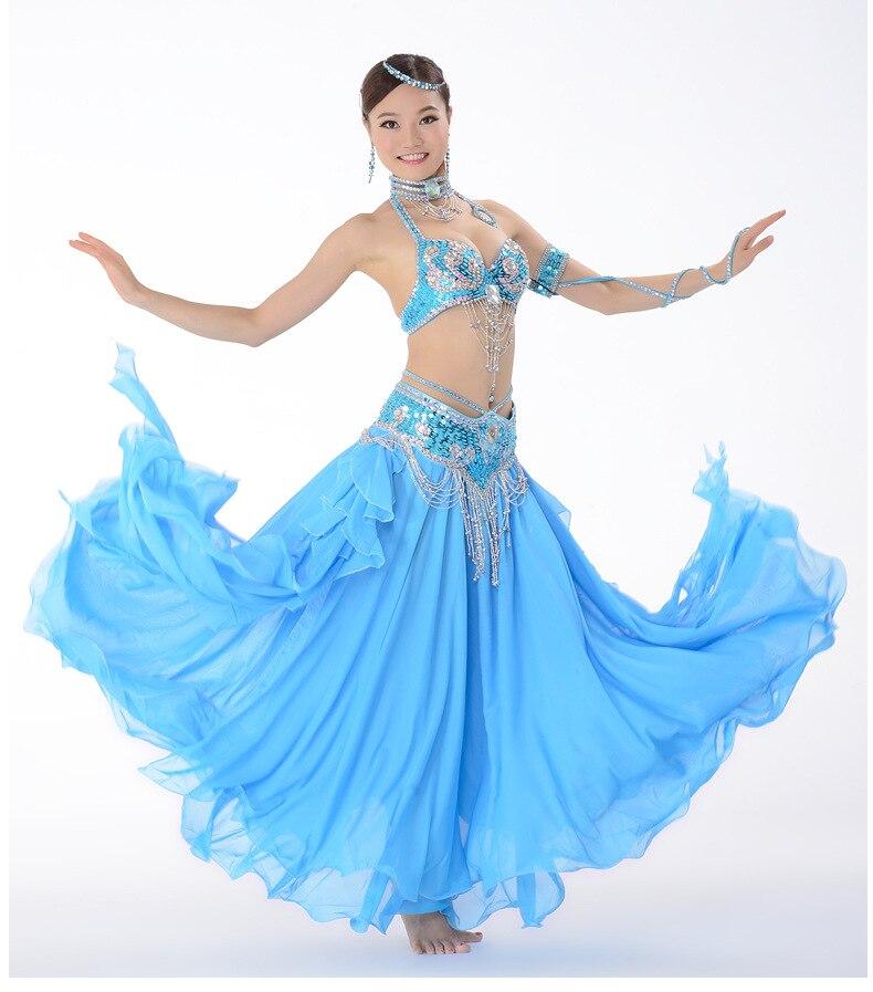 Костюм для танца живота, одежда для выступлений с бисером для женщин, костюмы для танца живота, бюстгальтер, пояс, юбка, комплекты одежды - Цвет: Бежевый